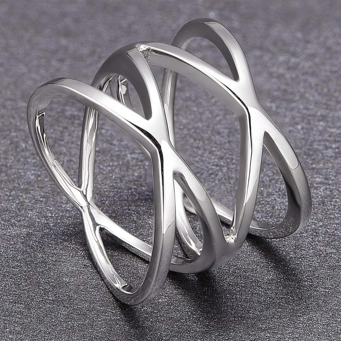 Unique Sterling Silver Promise Rings Criss Cross Style for