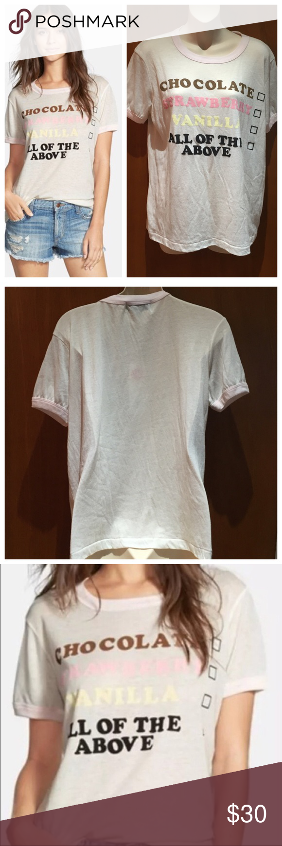 Wildfox Ice Cream Sundae All of the above T shirt ▪Wildfox Ice cream sundae All of the above graphic t shirt ▪️Size Med ▪️New with tags ▪️Color is a cream color  ▪️Very minor piling on the shoulders. Please see photo.  ▪️T shirt is so super soft!  ❌Trades Reasonable offers Wildfox Tops Tees - Short Sleeve