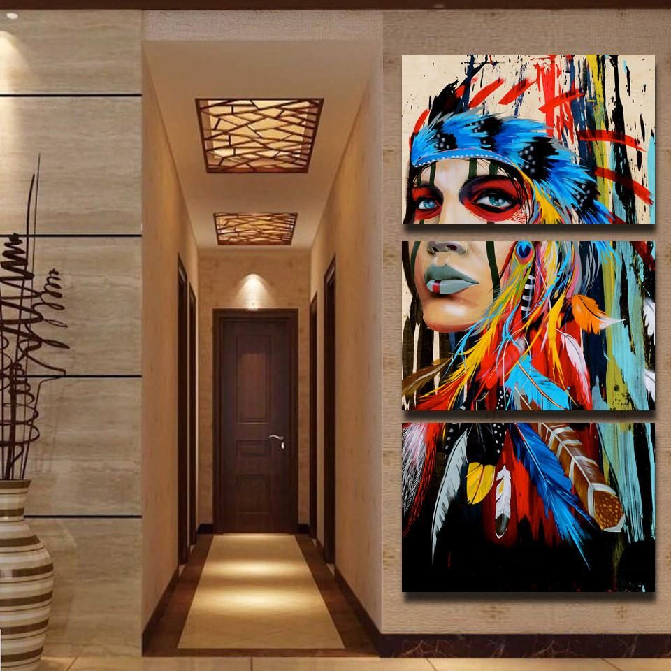 Home Decor 3 Piece Hd Canvas Painting Wall Art The Indians Native American Decor Home Wall Decor 3 Piece Canvas Art