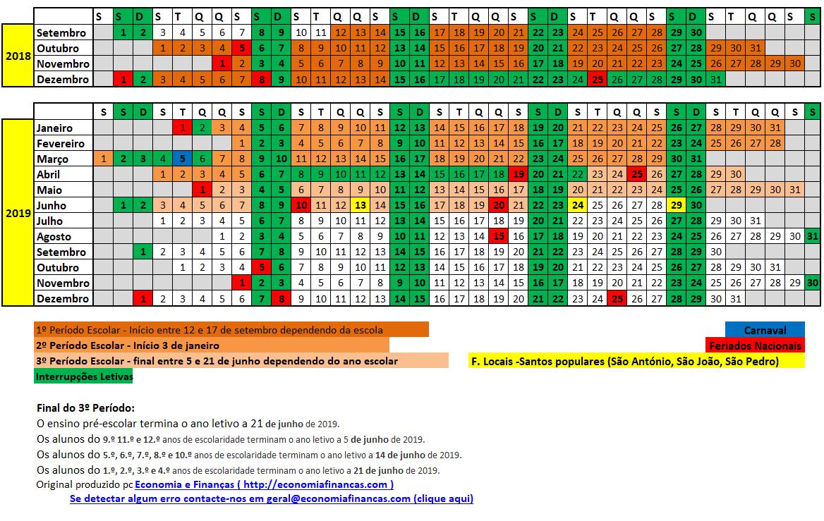 Calendario 2020 Portugal Excel.Pin Em Calendario Escolar 2018 19