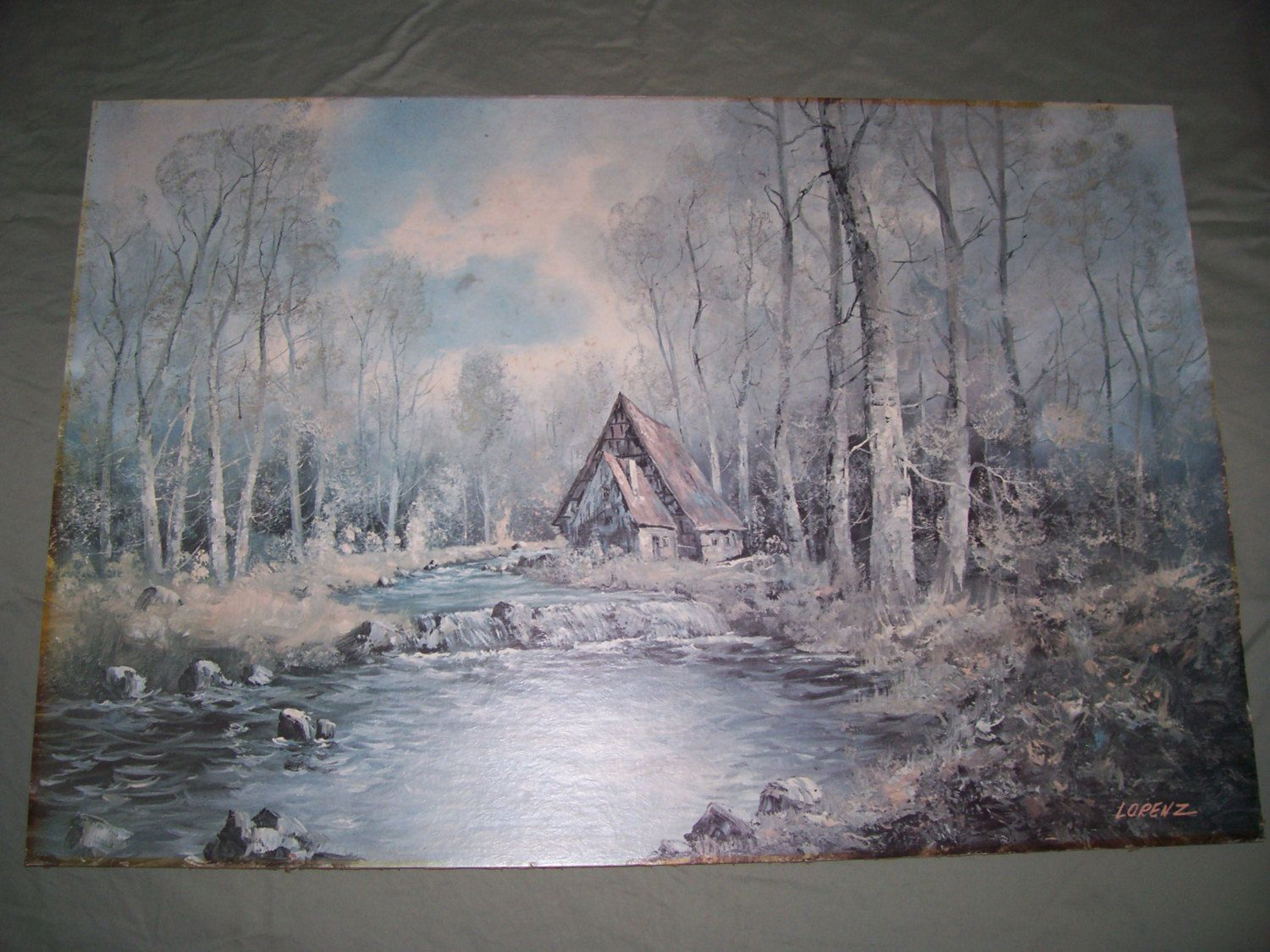 Old Large Signed Print By Lorenz SECLUDED CABIN In The WOODS