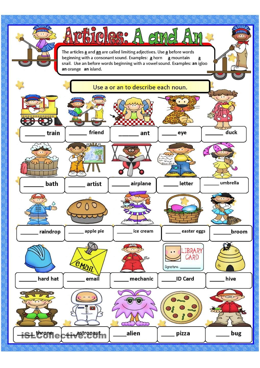 Articles A and An | English worksheets | Pinterest ...