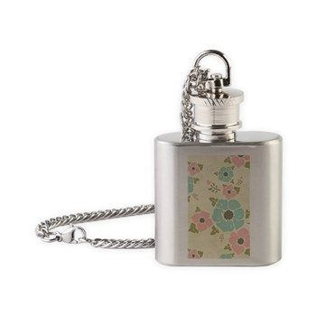 "Nostalgic flowers Flask Necklace Beige seamless vintage pattern ""Nostalgic flowers""  $19.49"