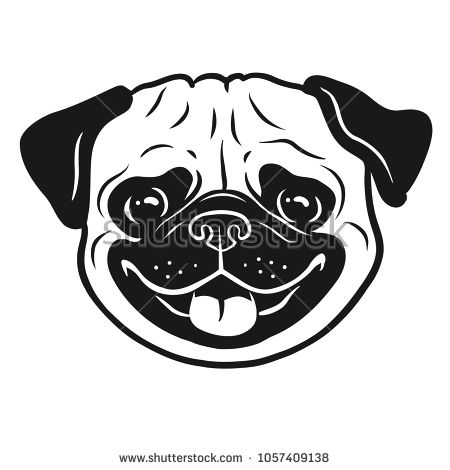 Pug Dog Black And White Hand Drawn Cartoon Portrait Funny Happy