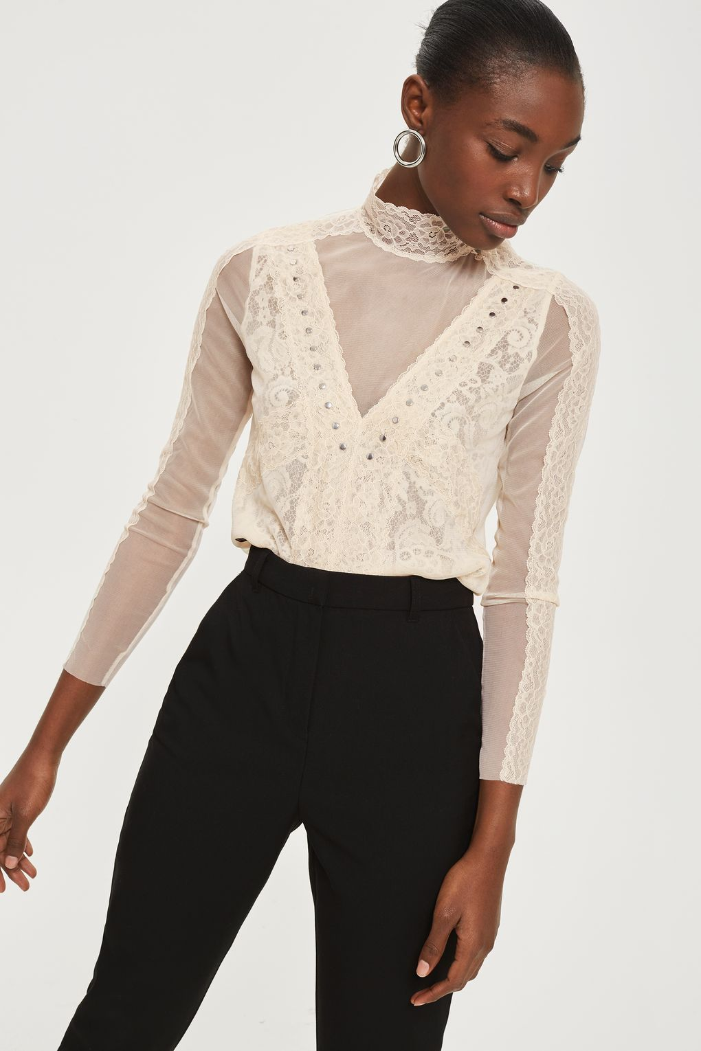a364dd5673f79 Romantic Lace High Neck Top - Clothing- Topshop