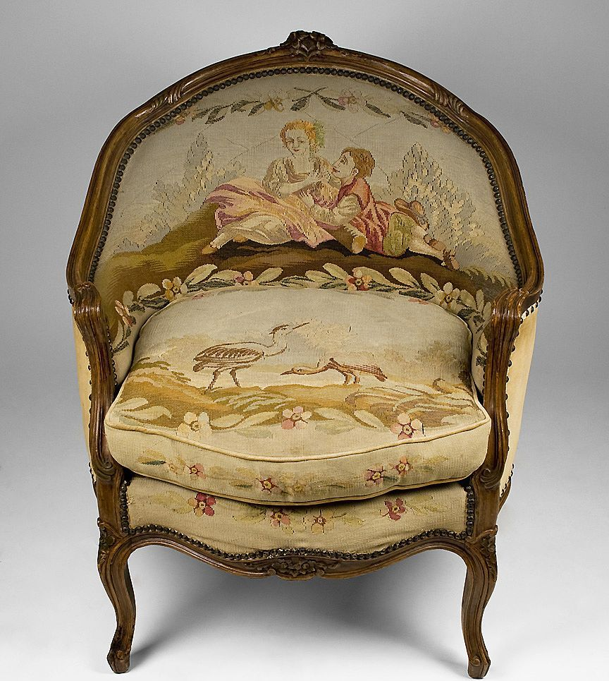 Louis XV Corbeille Shaped Aubusson Needlepoint Tapestry Bergere Chair from  piatik on Ruby Lane - Louis XV Corbeille Shaped Aubusson Needlepoint Tapestry Bergere