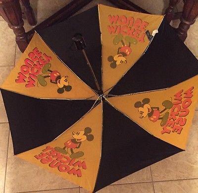 Vintage Collectible Mickey Mouse Umbrella Disney Memorabilia Rare Yellow Black Classic Umbrella Umbrella Disney