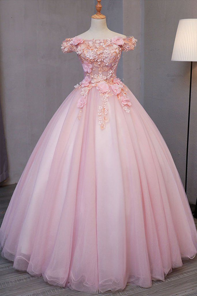 Pink tulle puffy off shoulder long formal prom dress long strapless pink flower appliqués party dressappliques