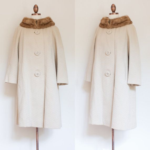 vintage 1960s Forstmann wool coat / 60s tan by inheritedattire