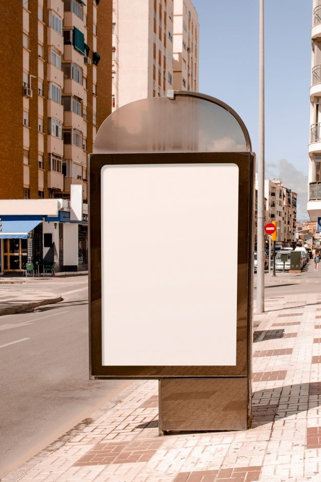 Download Blank Advertising Stand Near The Street In The City for free