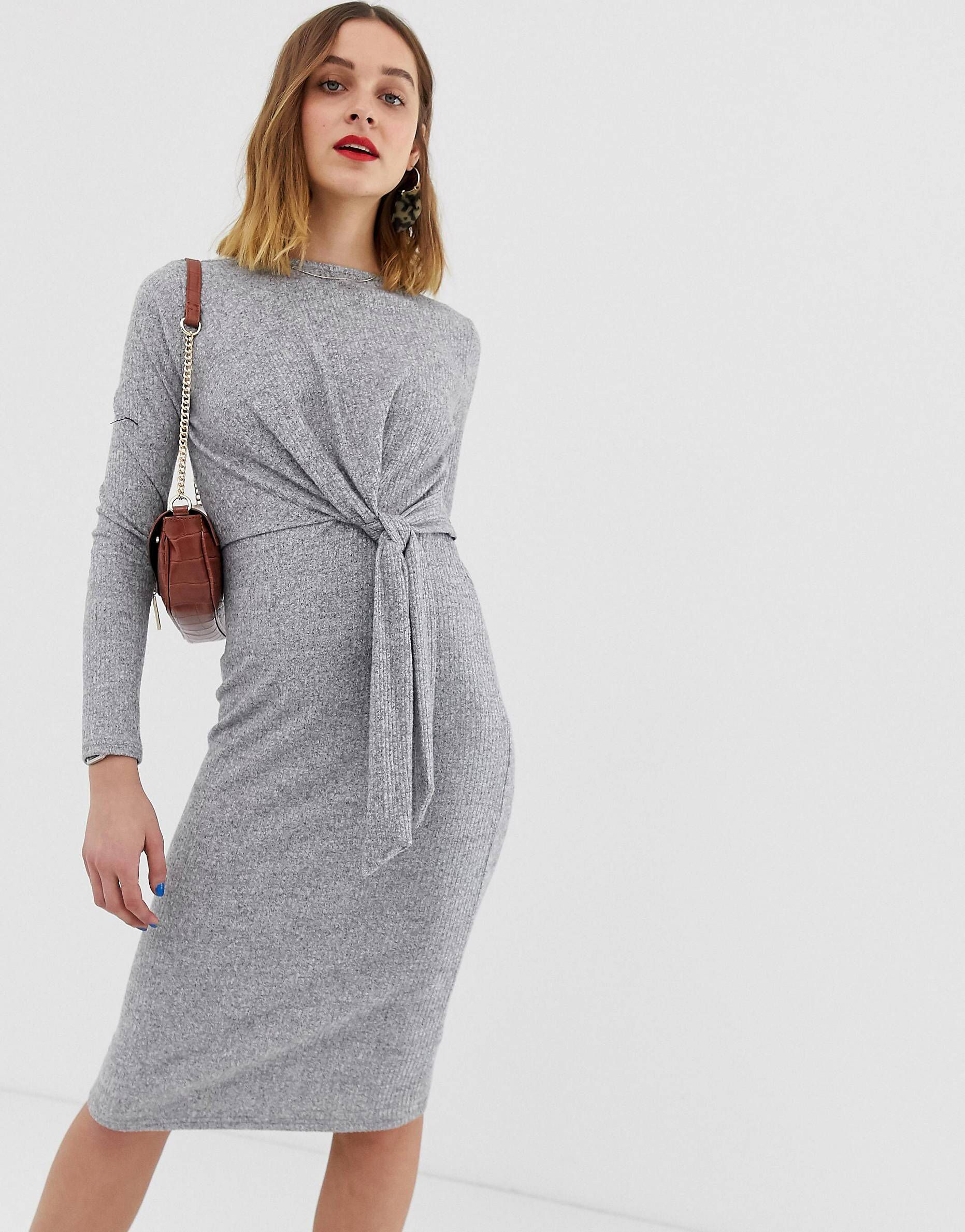 1b0f93b7a97 River Island dress with knot front in gray in 2019
