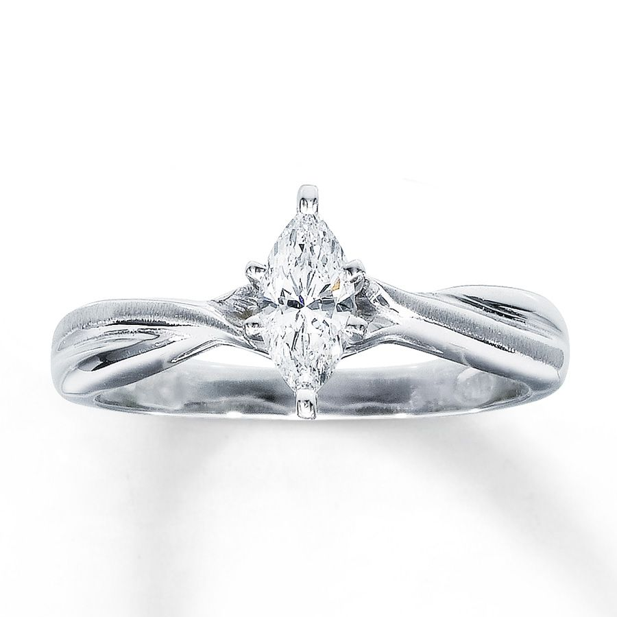 Certified Diamond Ring 1 3 Carat Marquise Cut 14K White Gold