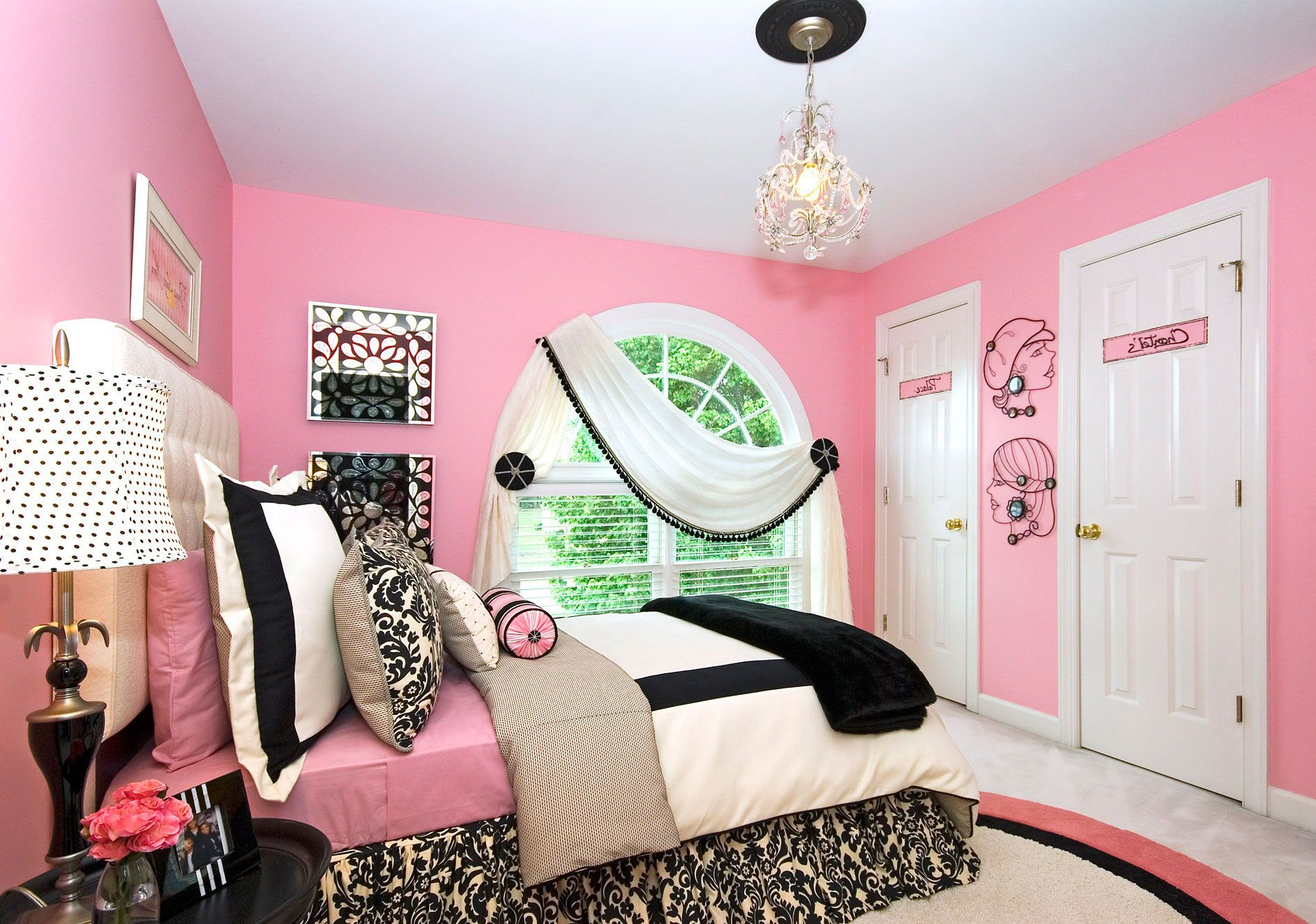 Glamorous Teen Bedroom with Pink Wall Paint Ideas Plus Beautiful