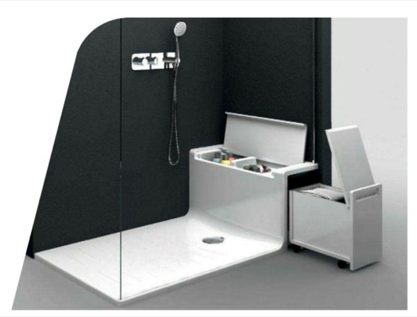 Hide seat plato ducha con asiento de almacenaje detalle for Asientos para duchas