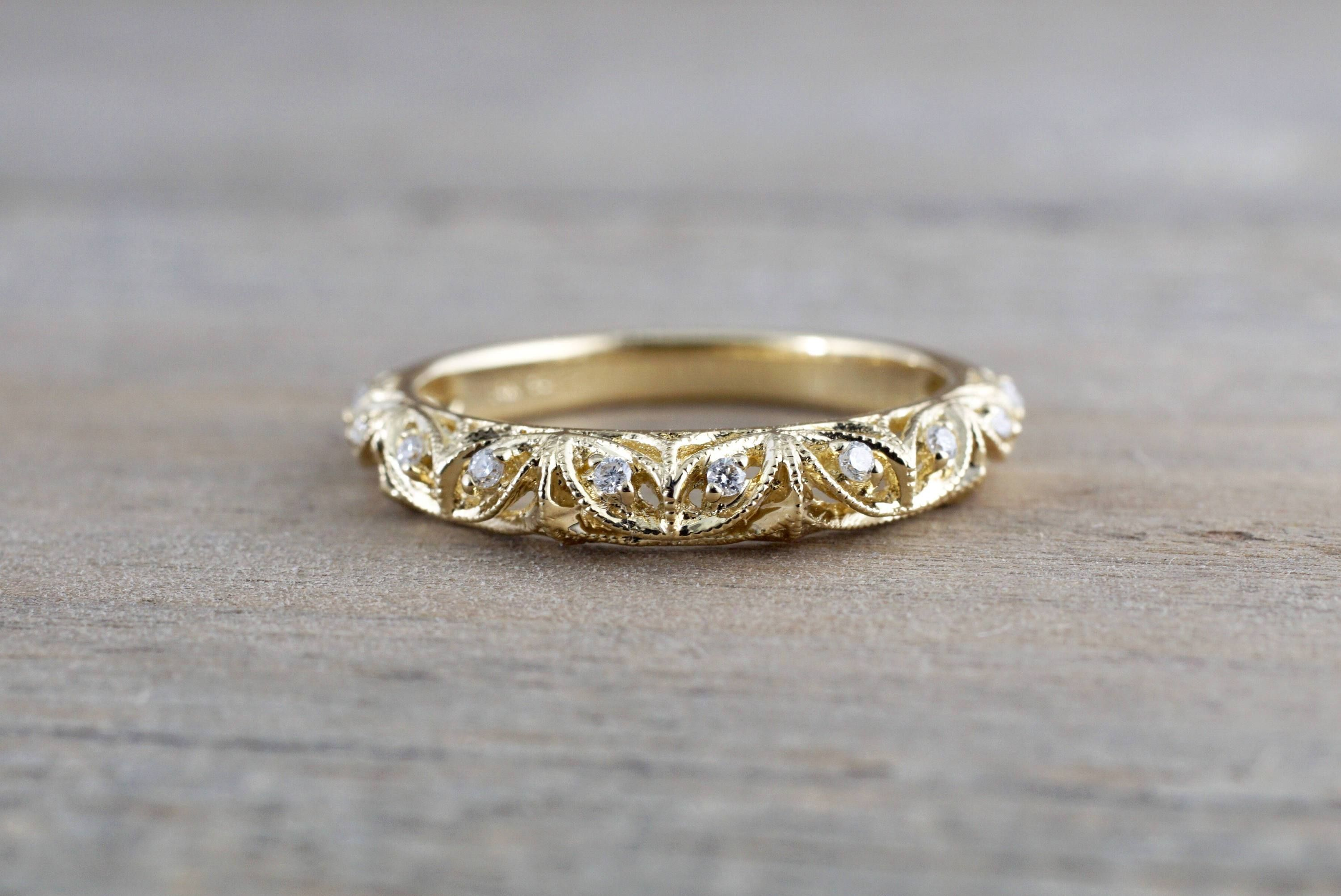 14kt Yellow Gold Diamond Milgrain Etching Vintage Wedding Engagement Anniversary Band Ring Filigree Vine Gold Diamond Gold Diamond