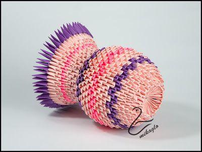 116. Wazon z origami / Origami 3d vase   Origami modułowe - mikaglo - rękodzieło - handmade