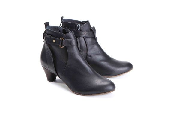 Black Boots, Booties, Leather Boots, Ankle Boots, Chunky Heel ...