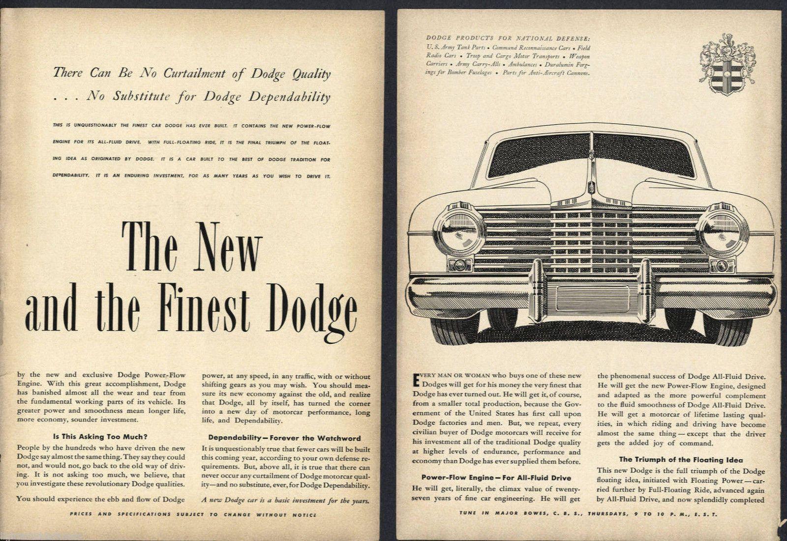1941 DODGE PRODUCTS FOR NATIONAL DEFENSE WAR VINTAGE CAR