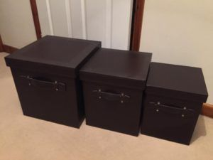 Dark Brown Faux Leather Storage Box