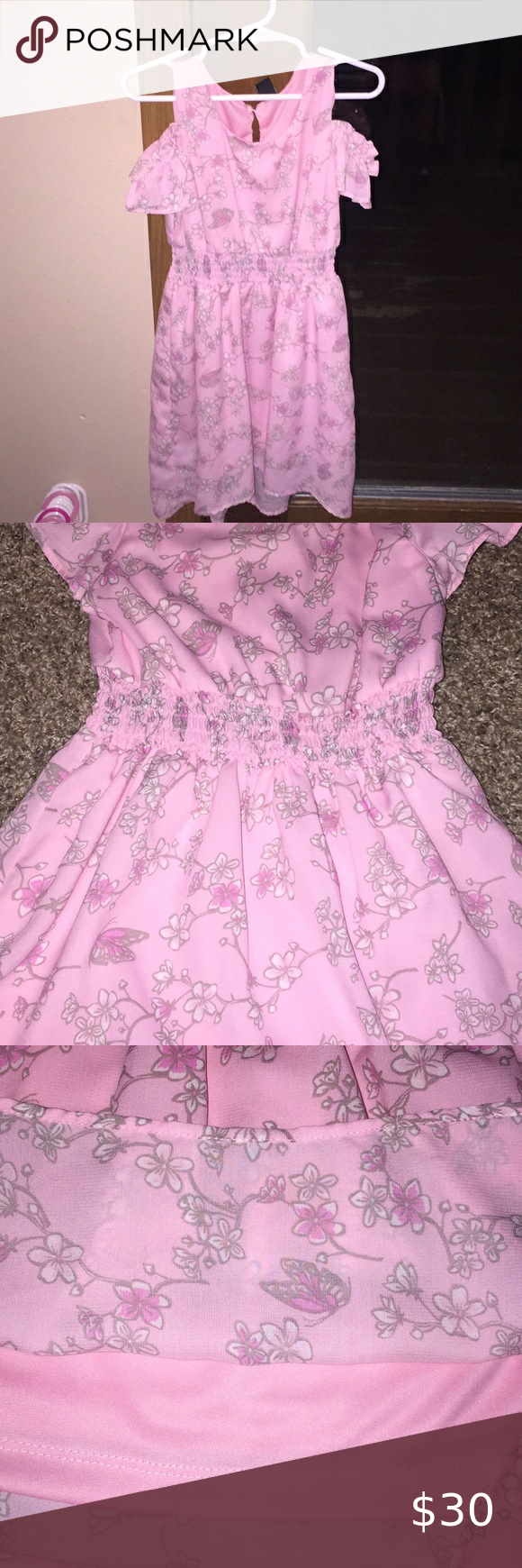 Star Pride Pink Lined Dress White Floral Detail Light Pink Floral Dress Pink Floral Dress Smocked Baby Dresses [ 1740 x 580 Pixel ]