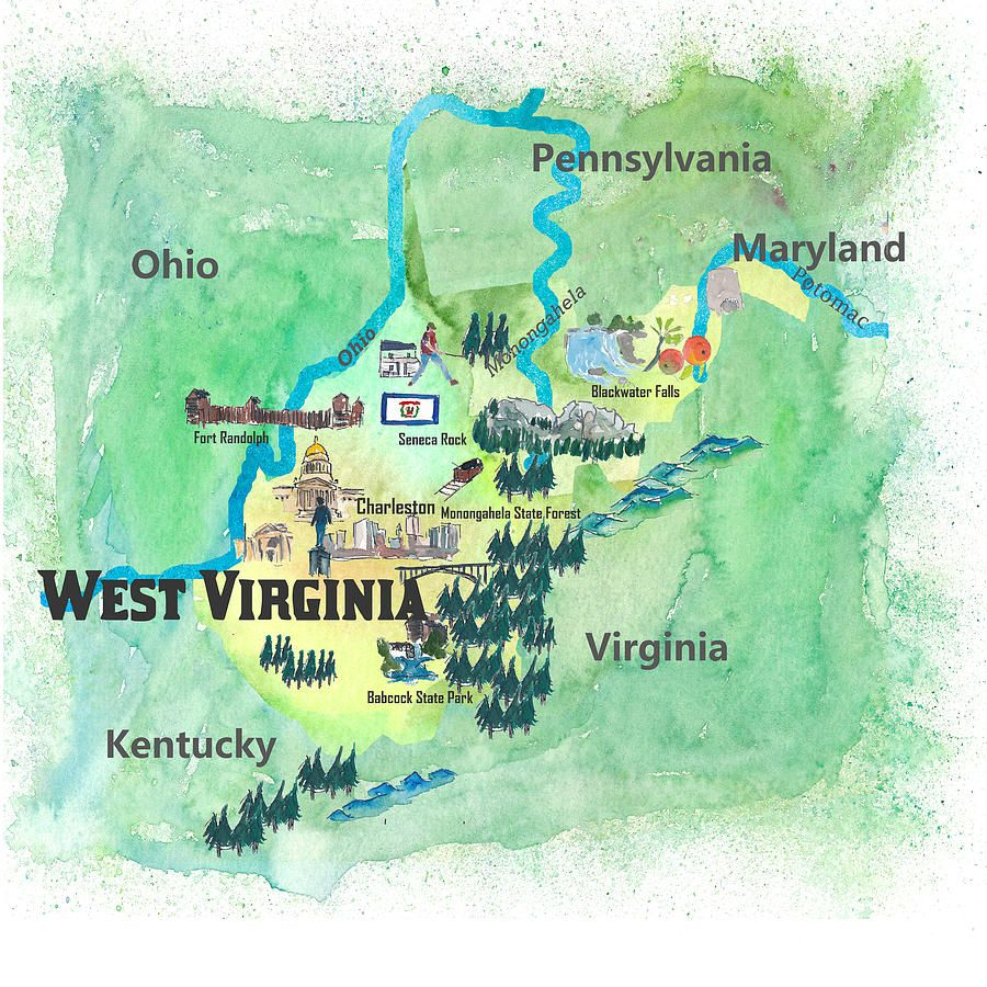 West Virginia Painting - Usa West Virginia State Travel Poster Map ...