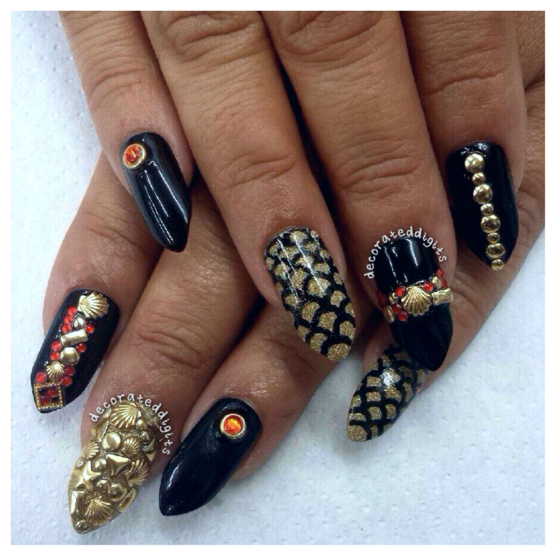 Gold and black gothic mermaid nails by decorateddigits