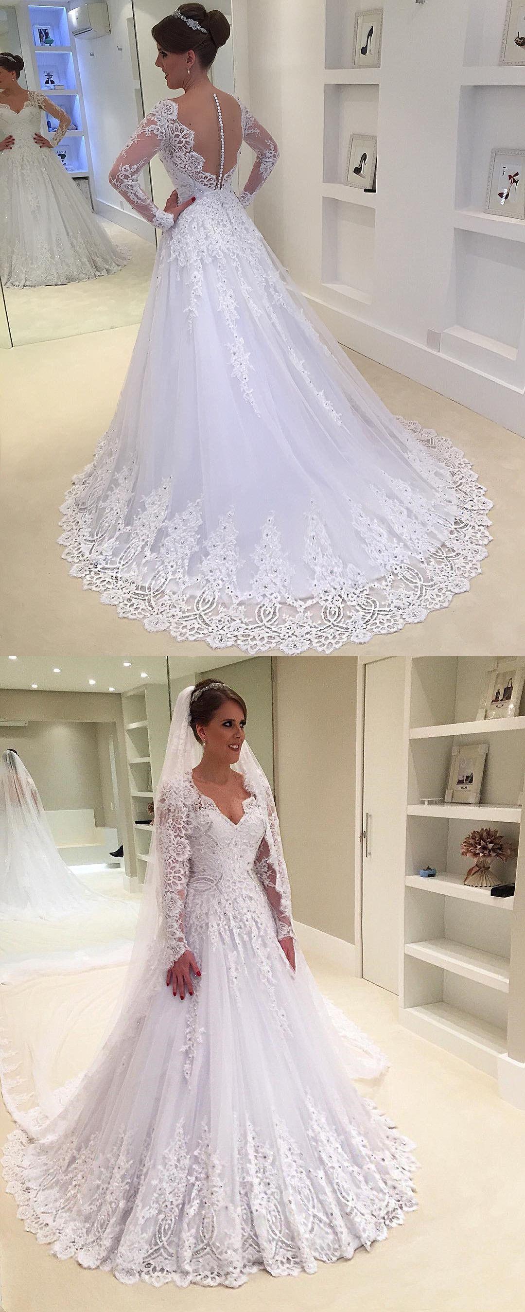 Long wedding dress  wedding dress bridal gown white long wedding dress long sleeves