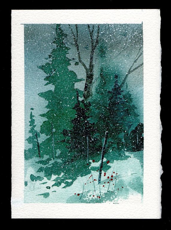 hand painted watercolor christmas card christmas. Black Bedroom Furniture Sets. Home Design Ideas