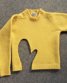 When wool is washed and dried, it is transformed: The fibers pull  together to produce the soft, thick fabric we call felt. This is  unintentional, of course. But you can shrink a sweater on purpose -- one  that's old, with holes or stains, perhaps -- turning it into a medium  that's wonderful for crafting.