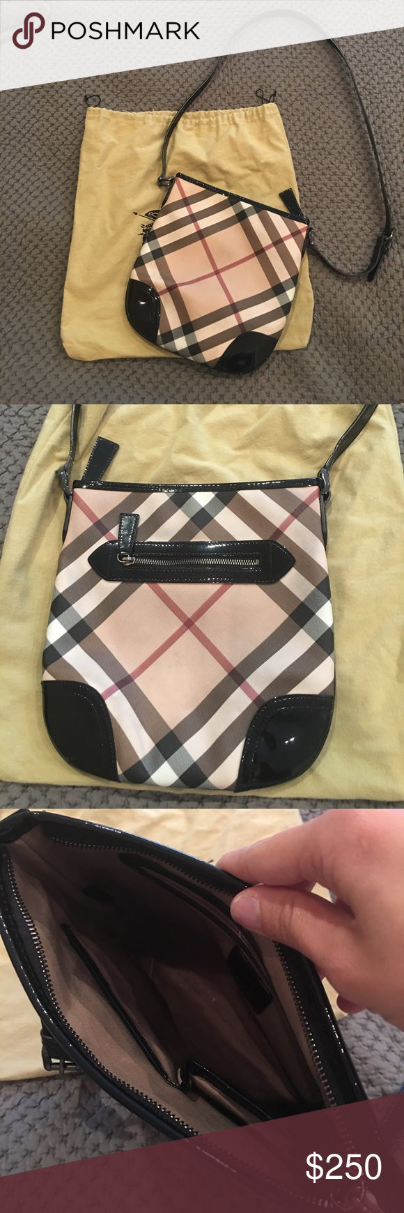 247a8eee4667 Authentic Burberry crossbody messenger bag Burberry crossbody bag. Printed  coated canvas crossbody bag with leather