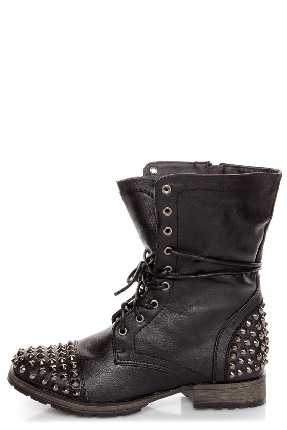 cc9a508f1864 Georgia 28 Black Studded Lace-Up Combat Boots at LuLus.com!