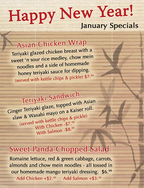 January 2012 monthly specials #Asian #NewYear