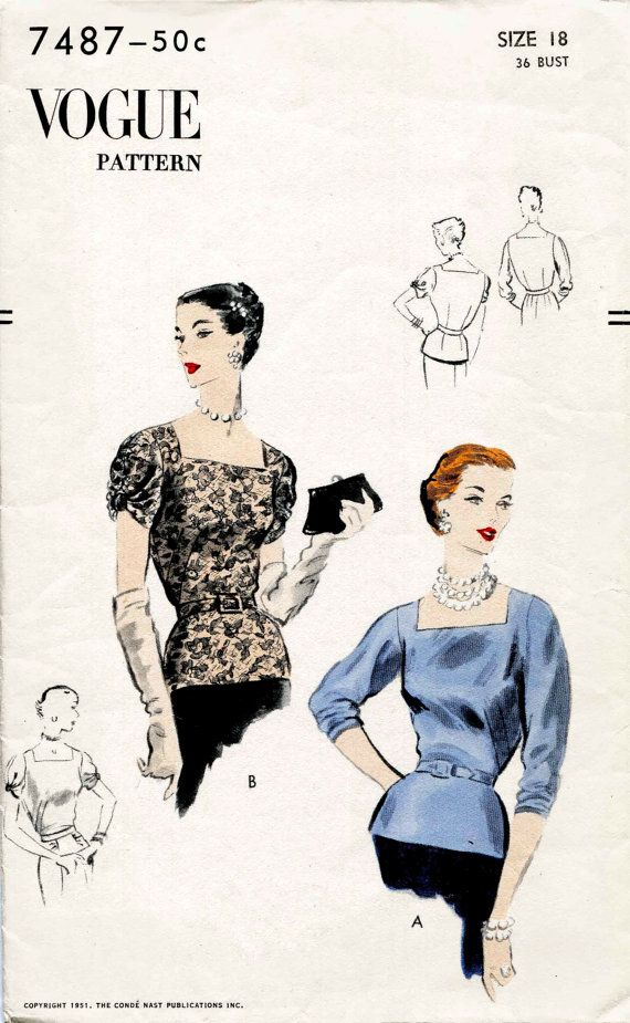 1950s 50s vintage sewing pattern evening cocktail blouse square ...