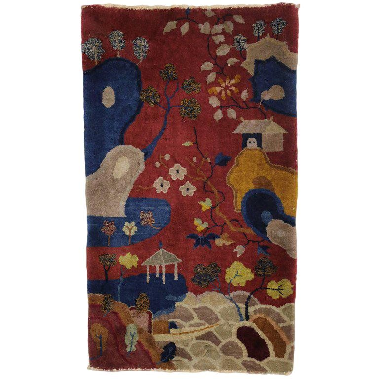 Early 20th Century Antique Chinese Art Deco Pictorial Rug 2 2 3 9 Tapestry Tapestry Wall Hanging Chinese Art