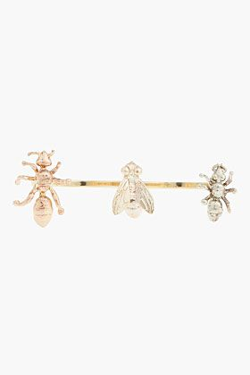 DELFINA DELETTREZ Gold Tricolor Open Band Insect Ring