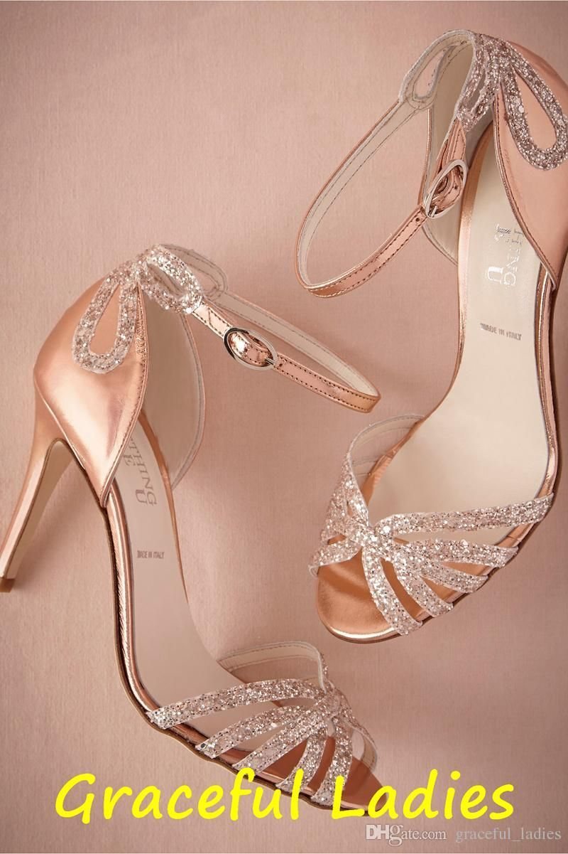 9cb95f3dd7f Rose Gold Glittered Heel Real Wedding Shoes Pumps Sandals Gold Leather  Buckle Closure Glitter Party Dance High Wrapped Heels Women Sandals Shoes  For Shoes ...