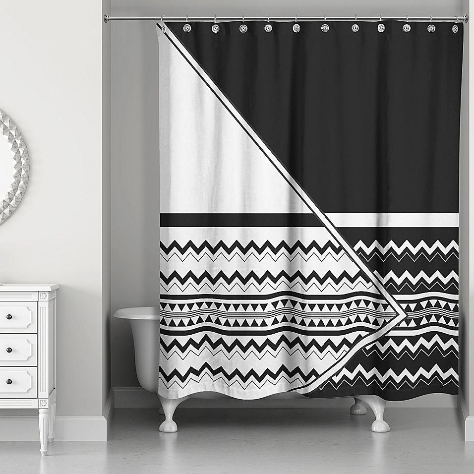 Asymmetrical Inverse Boho Tribal Shower Curtain In Black White