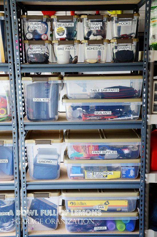 Trucs Pour Le Rangement Du Garage Et De L Atelier Etagere Rangement Garage Organisation De Garage Rangement Garage