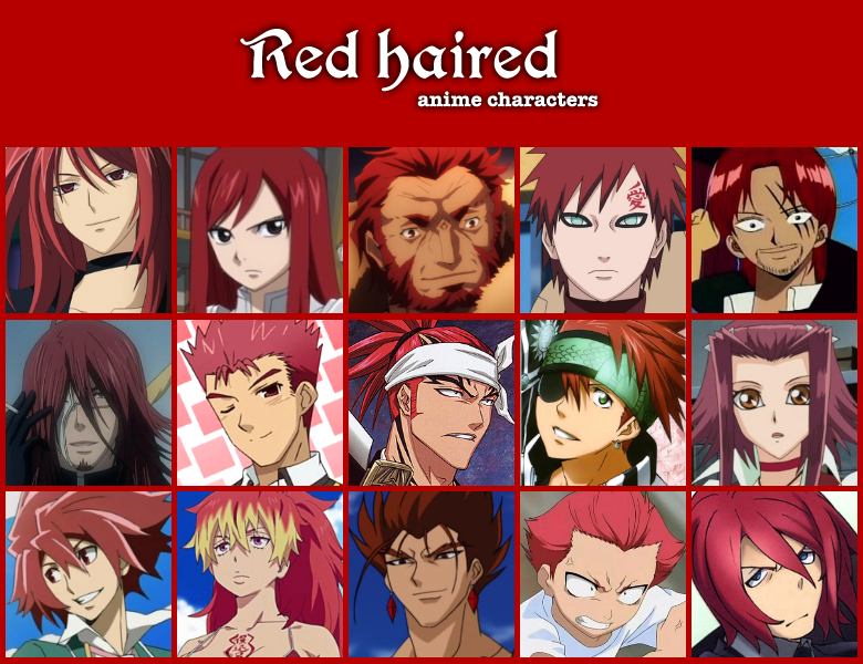 Red haired anime characters by on
