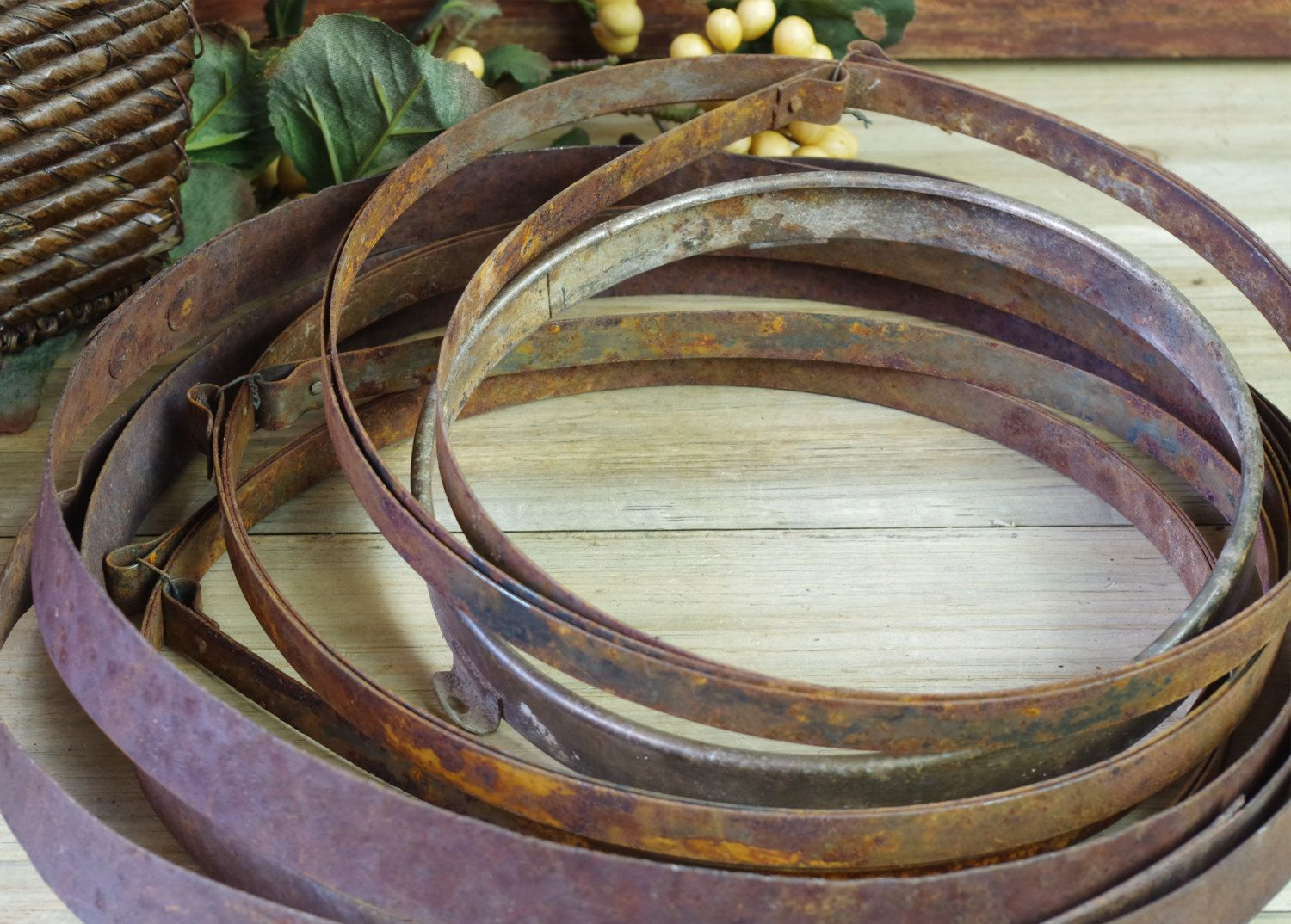 4 Round Hoops 3 Strapping Continuous, Salvage, Clock Making, Sculpture…