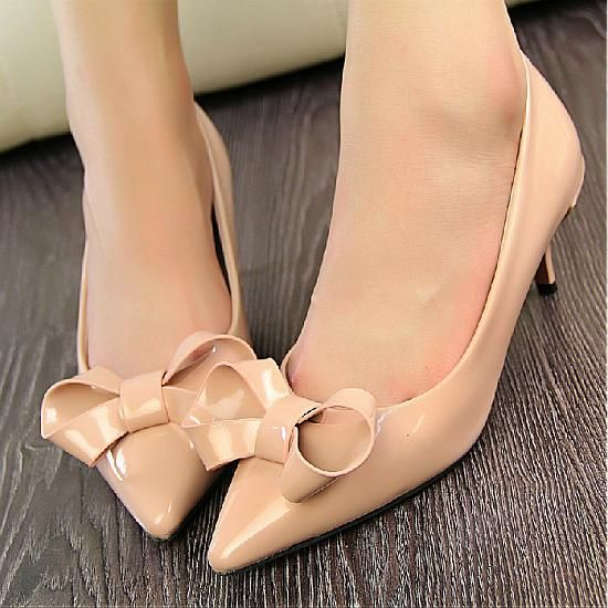Pumps Shoes | Beautiful Apricot Pointy Closed Toe Stiletto Mid Heel Basic Pumps - Hugshoes.com