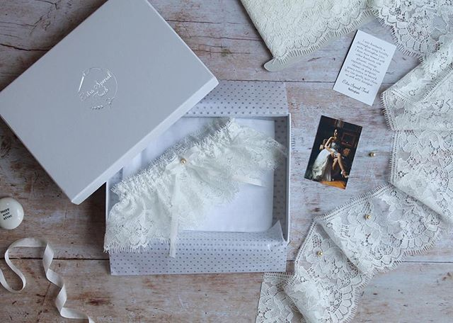 1d1d671a1b24 Love our luxury Tilly garter with deep Nottingham Lace pale ivory silk  ribbon and pearl bead
