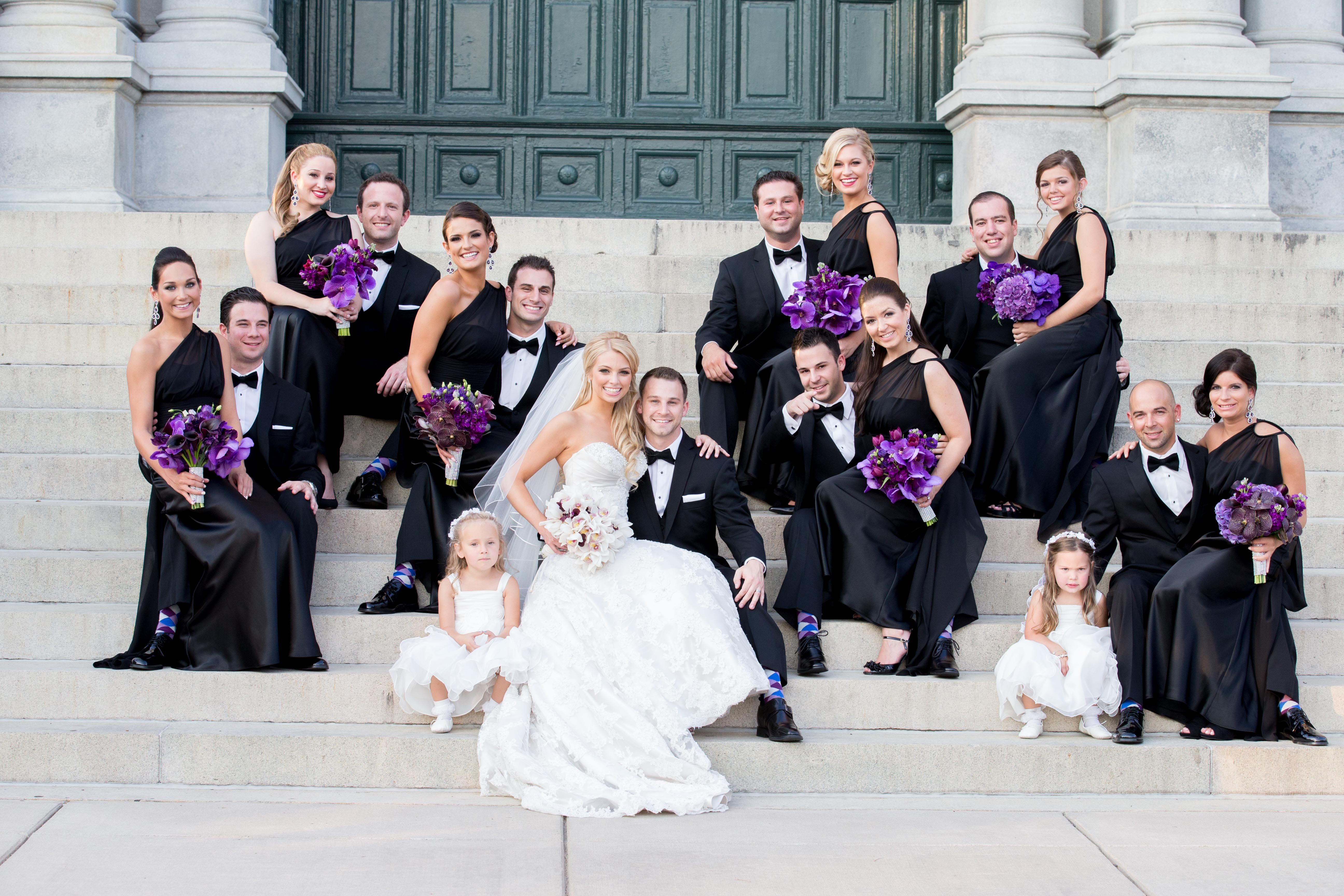 purple black and white wedding party