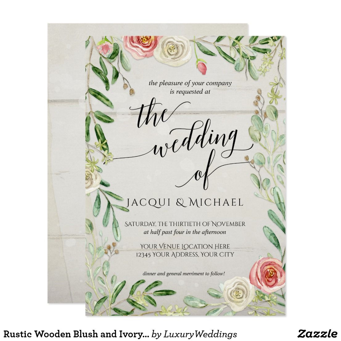 Rustic Wooden Blush And Ivory Roses Floral Wedding Invitation With A Theme: Rustic Wood Floral Wedding Invitations At Reisefeber.org