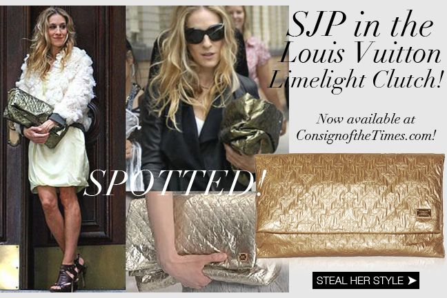 Sarah Jessica Parker Style! Get her Louis Vuitton Limelight Clutch as seen in Sex & The City The Movie HERE - http://www.consignofthetimes.com/blog/index.asp#blog_110 Consign Of The Times : Fashion Blog