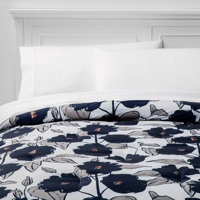 Twin Twin Xl Microfiber Printed Comforter Blue Floral Room