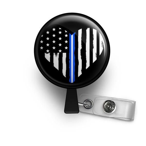 Thin White Line Heart HEART ID Badge Reel