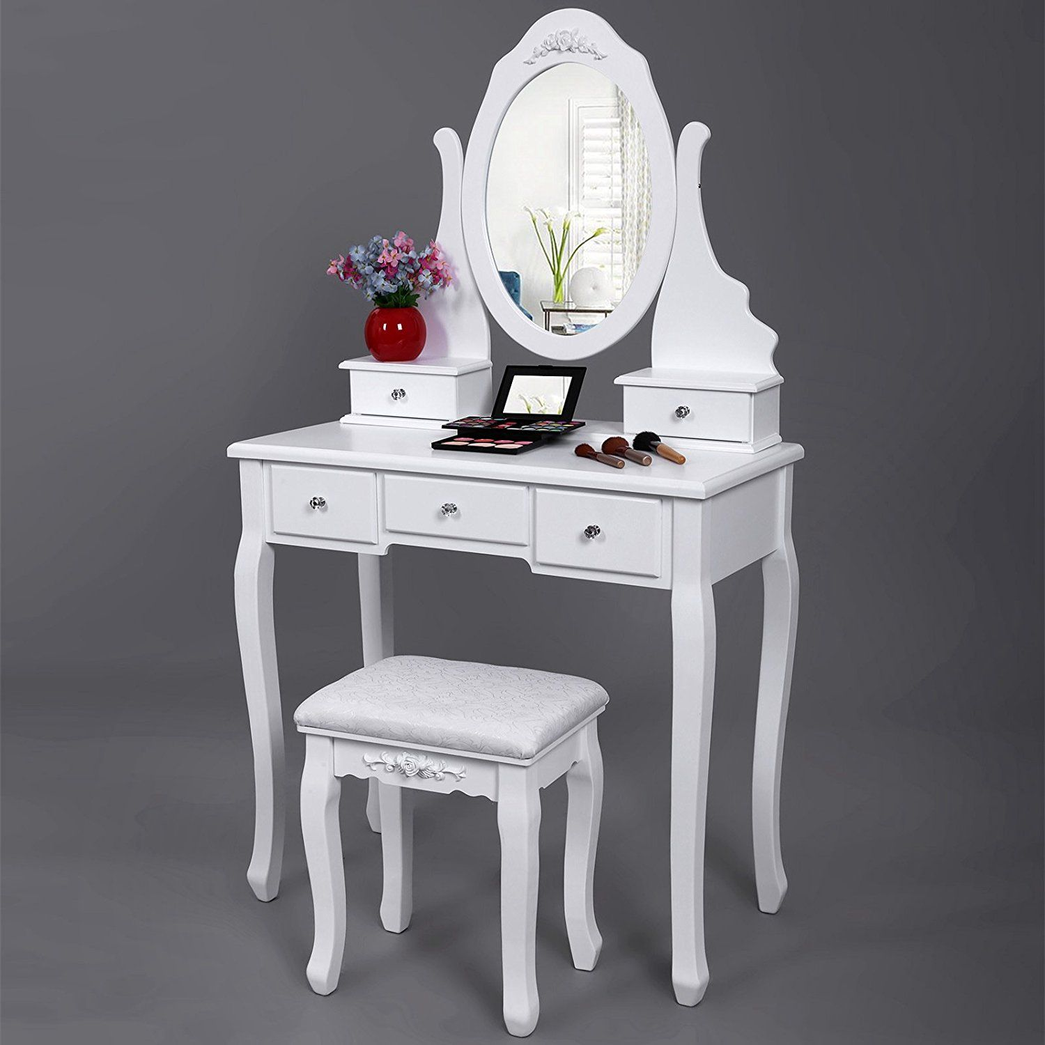 Dressing table with mirror songmics vanity set with mirror and stool makeup dressing table