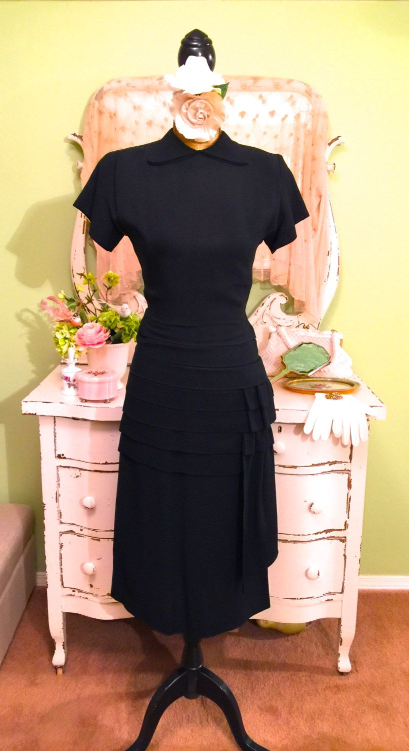 Five 40s Dresses That Capture The Era: 1930s 40s Tailored Dress, Black Fitted Crepe, WWII Era