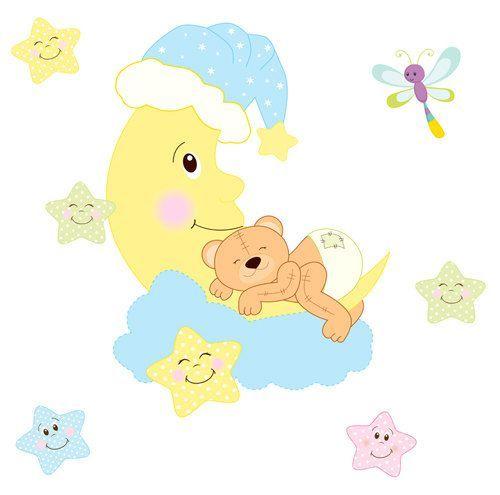 TEDDY BEAR MURAL Decal Wall Art Moon Star Baby Nursery Decor ...